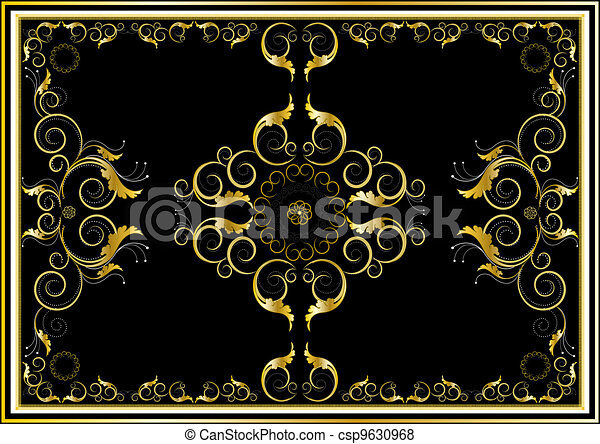 Oriental gold ornaments for rug in  - csp9630968