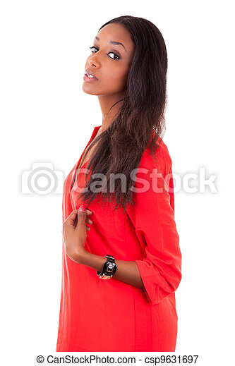 Beautiful young black woman in red dress - csp9631697