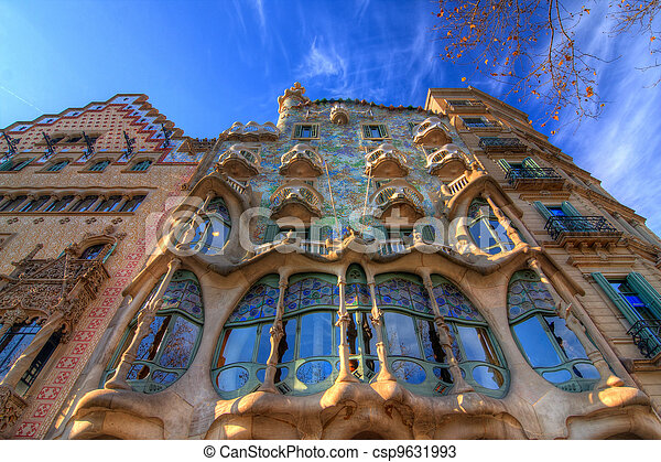 BARCELONA, SPAIN - FEBRUARY 25: Casa Batllo on February 25, 2012 in Barcelona, Spain. The famous building was designed by Antoni Gaudi. - csp9631993