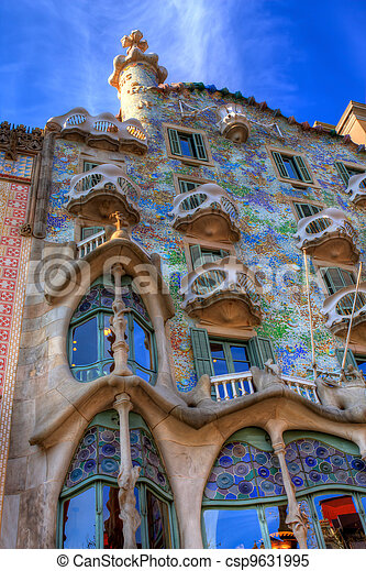 BARCELONA, SPAIN - FEBRUARY 25: Casa Batllo on February 25, 2012 in Barcelona, Spain. The famous building was designed by Antoni Gaudi. - csp9631995