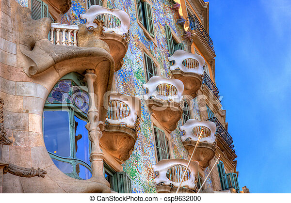 BARCELONA, SPAIN - FEBRUARY 25: Casa Batllo on February 25, 2012 in Barcelona, Spain. The famous building was designed by Antoni Gaudi.  - csp9632000