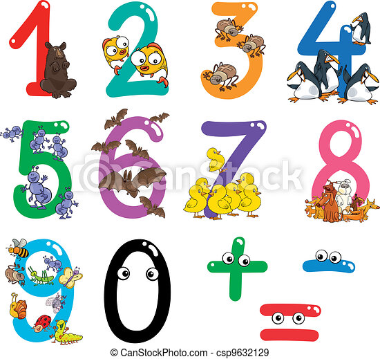 numbers with cartoon animals - csp9632129