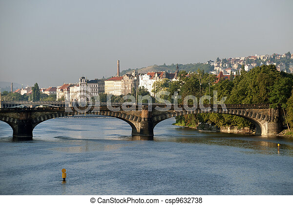 Prague - Vltava River, bridges and Smichov Quarter - csp9632738