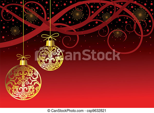 Christmas ornaments balls on red - csp9632821