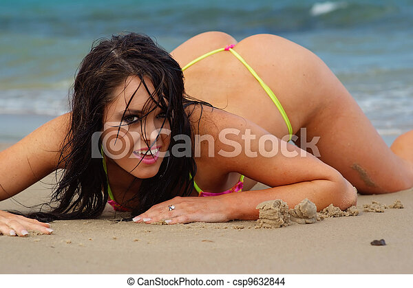 Sexy beach bikini girl  - csp9632844