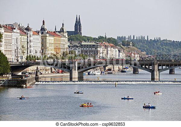 Prague - Vltava River, bridges and Vysehrad - csp9632853