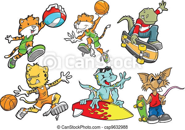 Vector of Sport Animal Vector Set csp9632988 - Search Clip Art ...