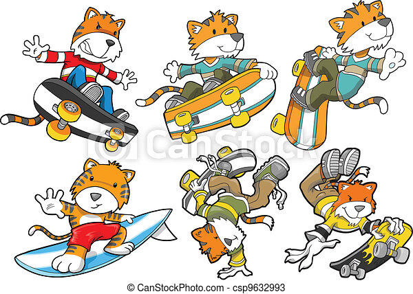 Tiger Skateboard Surf Vector Set - csp9632993