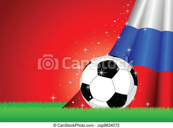 Russian Flag and Soccer Ball - csp9634072