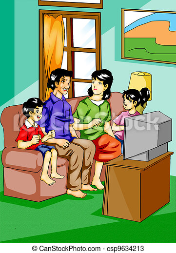 Drawings of Family - Illustration of a family watching ...