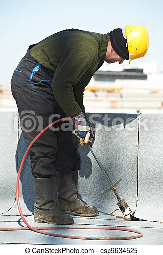 Flat roof covering works with roofing felt - csp9634525