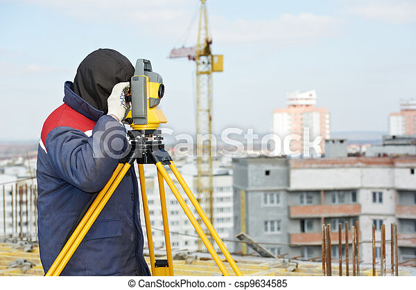 surveyor works with theodolite - csp9634585