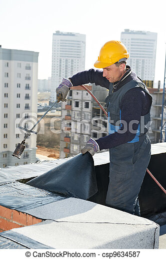 Flat roof covering works with roofing felt - csp9634587