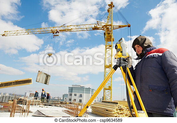 surveyor works with theodolite - csp9634589
