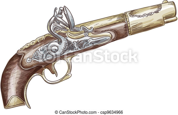 French flintlock antique pistol (late 18th - early 19th Century). Vector illustration. Watercolor style. - csp9634966