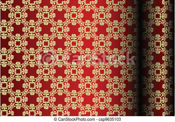Red & gold material background - csp9635103