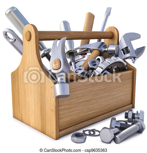 Drawings of toolbox - wooden toolbox with tools. isolated