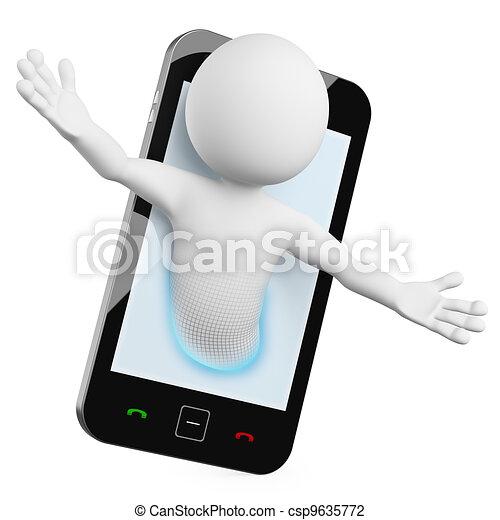 3D Man - Mobile video call - csp9635772