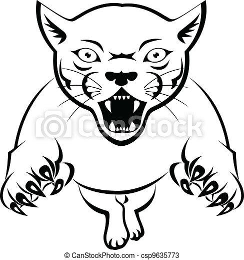 Panther Acttacking - csp9635773