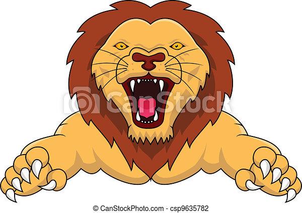 Lion Attacking - csp9635782
