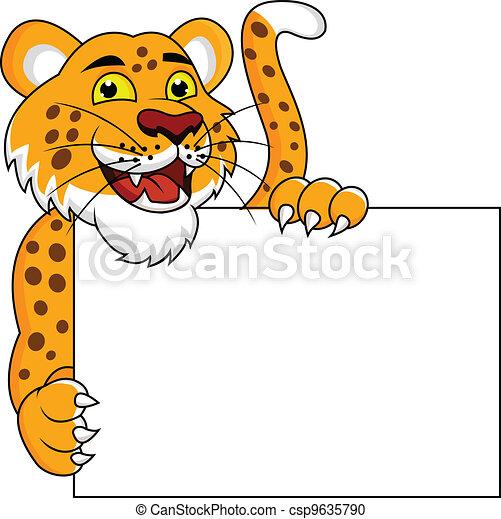 Cheetah cartoon with blank sign  - csp9635790