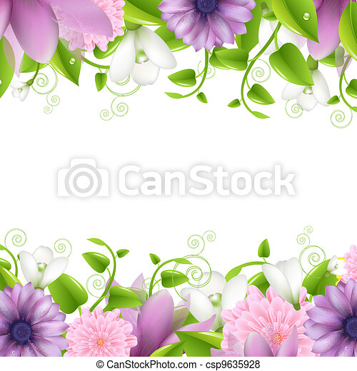 Borders With Flowers - csp9635928