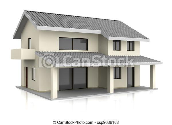 Dibujos de casa uno hermoso casa con dos pisos 3d render csp9636183 buscar clipart - Imagenes de casas para dibujar ...