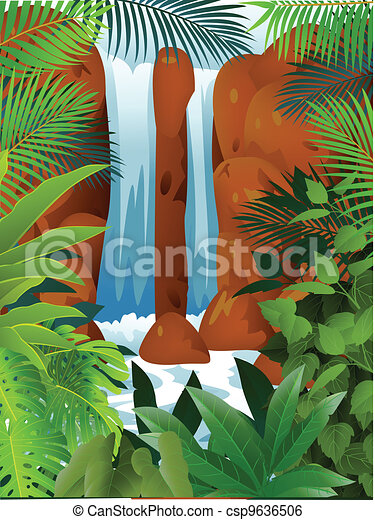 Tropical Forest With Waterfall - csp9636506