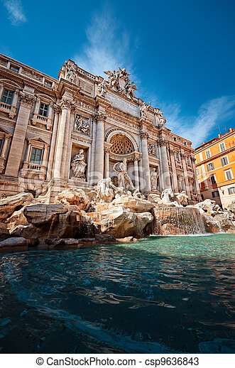 Trevi Fountain (Fontana di Trevi) is one of the most famous landmark in Rome. - csp9636843