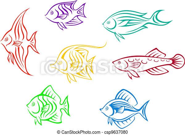 Colorful aquarium fishes set - csp9637080