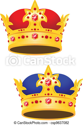 Golden king crown with gems - csp9637082