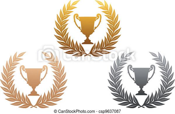Golden, silver and bronze laurel wreaths with trophy - csp9637087