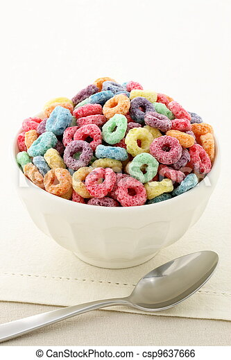 kids delicious and nutritious cereal loops or fruit cereal - csp9637666