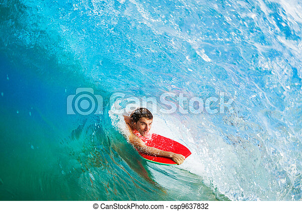 Body Boarder Surfing Blue Ocean Wave - csp9637832