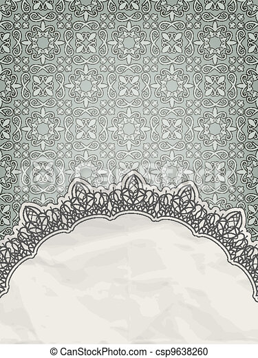 vector lacy frame for your text on seamless retro floral pattern, eps 10 , gradient mesh - csp9638260