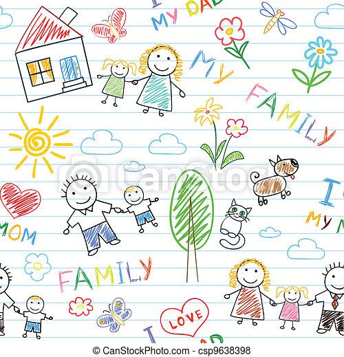 Seamless background - happy family - csp9638398