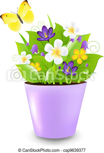 Lilac Pot With Flowers - csp9639377