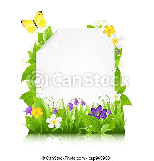 Paper With Flowers And Leaves - csp9639381