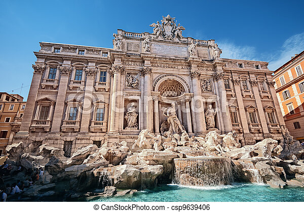 Trevi Fountain (Fontana di Trevi) is one of the most famous landmark in Rome. - csp9639406