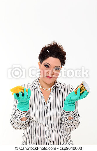 Woman in carrier cleaning a mug - csp9640008