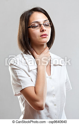 Sore throat young woman - csp9640640