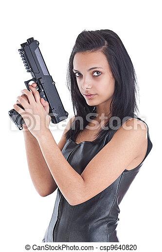 woman is aiming a handgun - csp9640820