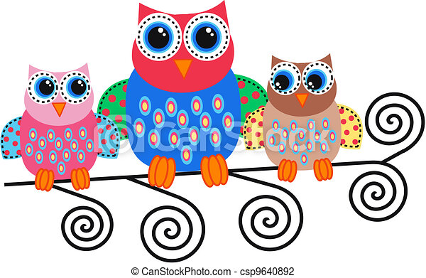 colorful owls - csp9640892