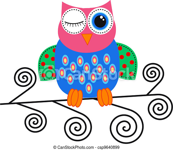 colorful owl - csp9640899