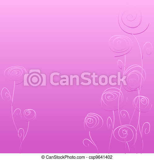 Abstract doodle flowers over gradient pink background - csp9641402