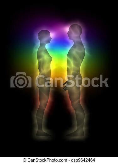 Couple profile energy body - aura - csp9642464