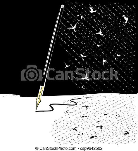 abstract black-white write pen - csp9642502