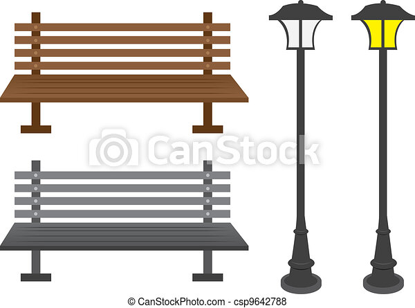 Vector Of Bench And Light Posts Isolated Park Benches