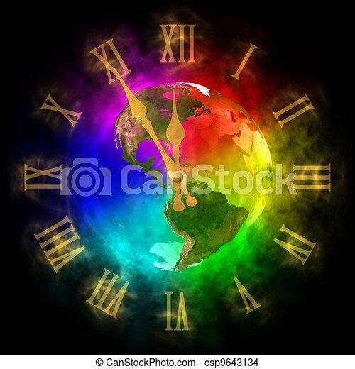 Cosmic clock - optimistic future on Earth - America - csp9643134