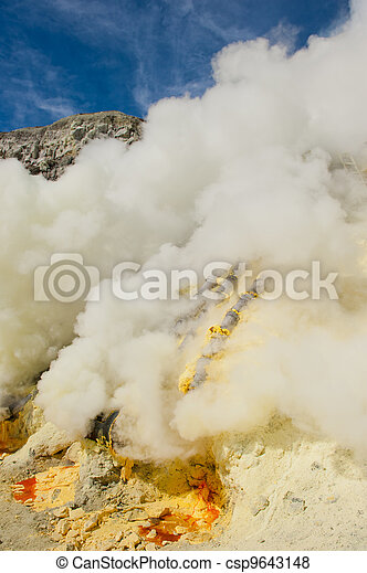 Sulphur mining, Kawah Ijen volcano, Java, Indonesia - csp9643148